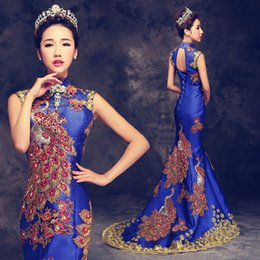 81bcdc6566f8 Oriental evening dresses online shopping - Luxury Blue Red Embroidered Chinese  Evening Dress gorgeous Long Cheongsam