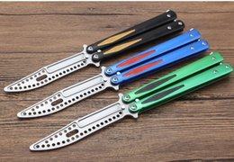 Butterfly knife training Blade online shopping - THEONE Tachyon trainer training knife Butterfly Knife not sharp stonewash ball bearing D2 blade aluminum handle xmas gift knife