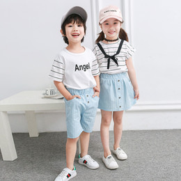 $enCountryForm.capitalKeyWord Australia - Kids Clothing Sister Brother Clothing Suit Summer Girls Skirt Set Boys T-shirt+ shorts 2pcs Striped T-shirt