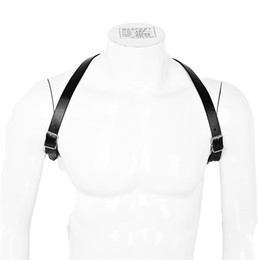 leather zentai NZ - Newest Men Lingerie Imitation Leather Shoulder Harness Belt Punk Costume Straps Body Chest Harness Bondage Costume Tights Zentai