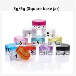 screw eyes Australia - 3g 5g Plastic Oil Wax Jar Empty Plastic Cosmetic Samples Container Round  Square base Make Up Eye Shadow Cream Small Clear Pot Jar