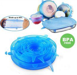 6 pçs / set tampas de estiramento de silicone tampa universal Silicone food envoltório tigela panela tampa de silicone pan panela de Cozinha acessórios de cozinha dropshipping em Promoção