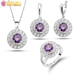 Fashion Trinket Round White Purple Zircon Crystal Earrings Pendant Necklace  Ring For Women 925 Silver Romantic Jewelry Sets 1e2c1f4b3490