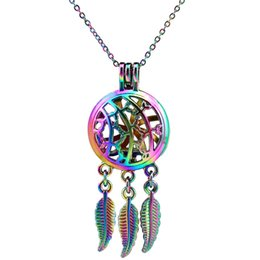 $enCountryForm.capitalKeyWord Canada - C726 Rainbow Color Beaty Dream Catcher Vines Leaf Beads Cage Pendant Essential Oil Diffuser Aromatherapy Pearl Cage Locket Pendant Necklace