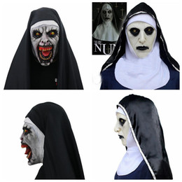 latex nun costume UK - The Nun Cosplay Mask Costume Latex Prop Helmet Valak Halloween Scary Horror Conjuring Scary Toys Party Costume Props cny748