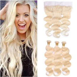 $enCountryForm.capitalKeyWord Australia - Russian Blonde Virgin Human Hair Wefts with Frontal #613 Bleach Blonde 3Bundles Human hair Weaves with Full Lace Frontal Closure 13x4