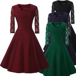 2bd6d48dfa Rockabilly Prom Dresses NZ - Vintage 50 60s Lace Patchwork Dress Women 3 4 Sleeve  Rockabilly