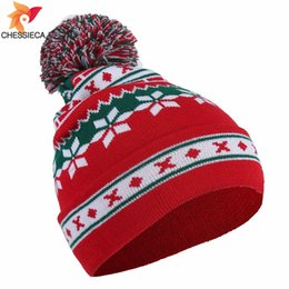 Santa Beanies UK - CHESSIECA Wholesale Brand Santa Claus Snowflake Knitted Cap Baggy Warm Crochet Winter Wool Knit Ski Beanie Skull Christmas Hat