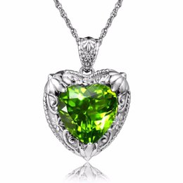 $enCountryForm.capitalKeyWord UK - SzjinAo Vintage Craft High Quality Peridot Pendant Heart Shape Carved High Texture Flower Woman's Silver Necklaces pendants