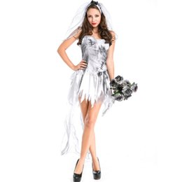 Wholesale corpse party cosplay online – ideas halloween Sexy white lace gauze corpse bride Cosplay Costume Day of the Dead masquerade Party Dress halloween costumes for women