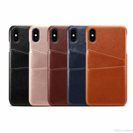 Leather Case Iphone Id Australia - ID Card Slot Leather Hard Plastic Case For Iphone XR XS MAX X 8 7 S9 Dual Two Card Box PC Veneer Gluing Fashion Back Cover Business Vintage