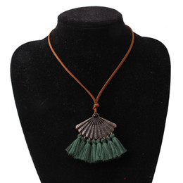 bohemian sweaters women NZ - Vintage Alloy Sector Pendant Necklaces Bohemian Cotton Tassel Necklaces Women Long Leather Rope Sweater Chain Jewelry Accessories Wholesale