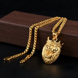 Discount necklace lion Wholesales Roar Lion Necklaces Hip Hop Choker Gold Chain for Mens Iced Out Chains Designer Jewelry Cuban Links