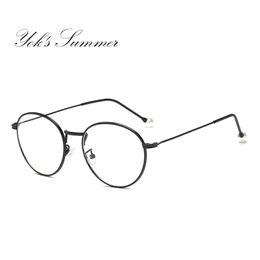 f98c0afbfd4 Yok s Summer Korean Anti Blue Ray Glasses Women Round Pearl Gold Retro Thin  Metal Compute Glass Frame Mirror Lens Eyewear WN046