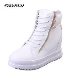 d2015c1a SWYIVY Zapatillas de deporte para mujer Zapatos de lona con tacón alto en  color blanco Plataforma de cuña Zapatillas de deporte Mujer Zapatos  casuales 2018 ...