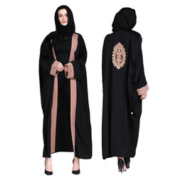 Islamic Abaya Arab Robe UK - Women Cardigan Muslim Abaya Dress Striped  Panelled Print Turkish Islamic 855ba42c463a