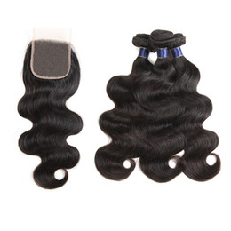 closures wave UK - Brazilian Virgin Hair 3 Bundles With Lace Closure Straight Deep Water Wave Indian Human Hair Bundles With 4x4 Lace Closures