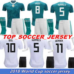 Set Football Uniforms Canada - TOP quality 2018 Deutschlan Home Uniform Jersey Germany Soccer Jerseys Sets SCHWEINSTEIGER HUMMELS OZIL Muller Kroos Football Kits+Socks