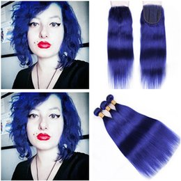 blue human hair weave Australia - Virgin Peruvian Blue Hair Wefts Extensions with Top Closure Silky Straight Pure Blue Human hair Weave Bundles with Lace Closure 4x4
