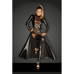 2018 Women Cosplay Costume The Matrix Trench Uniform Leather Ornate Cloak Sexy Elegant Lace Halloween Christmas Party Clothing from men uniform for sale suppliers