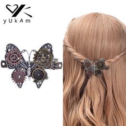 $enCountryForm.capitalKeyWord NZ - YUKAM Steampunk Hair Accessories Vintage Handmade Metal Hair Clips Hairgrips Barrettes Gear Butterfly Clock Decoration for Women S919