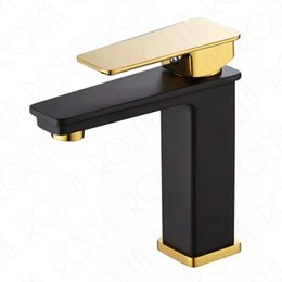 single lever NZ - ROLYA Golden&Black Single Lever Bathroom Faucet Basin Sink Mixer Tap