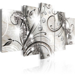 Contemporary Frames Canvas Prints Australia - Amosi Art Canvas Art Prints Diamond Crystal Leaf Background Contemporary Wall Decor Framed 5 Pieces Painting Modern Home Office Decoration