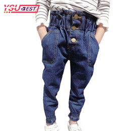 girls trouser linen UK - 2018 Fashion Baby Girls Pants Character High Waist Pattern Kid Jeans Leisure Dark Blue High Quality Child Trousers Pencil Pants Y18103008