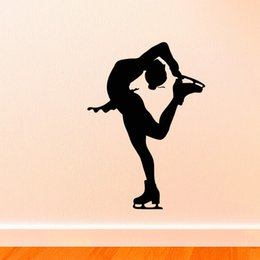 $enCountryForm.capitalKeyWord NZ - Removable Girl Ice Skating Silhouette Cool Art Wall Stickers For Living room bedroom home Decoration