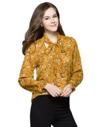 c102c93ba9 Blusas de renda amarela on-line-2017 Outono Mulheres Blusa Chiffon Floral  Do Vintage