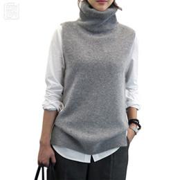 794205bbedf2 De punto de las mujeres de Angora de conejo de cachemira de lana de cuello  alto chaleco Slit lado invierno suéter de lana femenina sin mangas chaleco  New ...