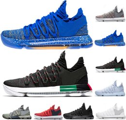 60f0ab1e1c1c44 New Zoom KD 10 Anniversary PE BHM Red triple black white Men Basketball  Shoes Low red Blue BHM Durant Athletic mens Sports Sneakers US 8-11