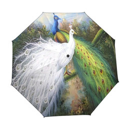 Sunny Hats Australia - Kids Beautiful Peacock Custom Portable Folding Travel Design Rain and Sun Beach Umbrellas Hat Unique Parasol Umbrella for Woman
