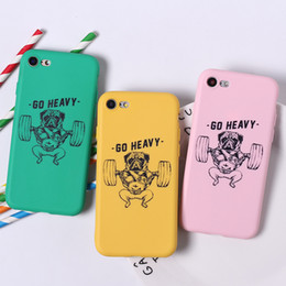 Discount silicone dog phone case - Cartoon Fitness Dog Phone Cases For Iphone Xs Max Xr All-Inclusive Scrub Soft Cell Phone Case For Iphone 6 7 8 X Plus