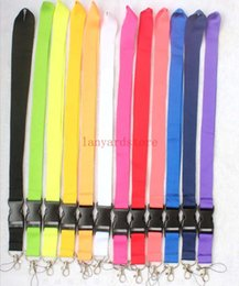 $enCountryForm.capitalKeyWord Australia - Wholesale 10 pcs Solid color Mobile phone Lanyard Removable Key Chains Badge Pendant Black Red Blue White Purple LOGO