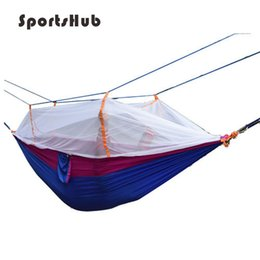 Discount outdoor mosquito netting - SPORTSHUB Fastness Outdoor Parachute Fabric Hiking Camping Hammock Hanging Bed With Mosquito Net Sleeping Hammock SES002
