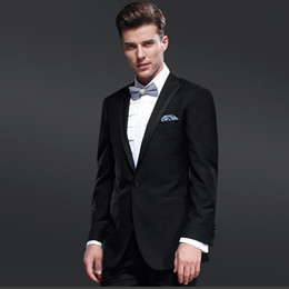 $enCountryForm.capitalKeyWord NZ - Handsome Men Suits Black Peaked Lapel Wedding Suits Evening Dress Bridegroom Custom Made Slim Fit Tuxedos Best Man Blazer Prom Party 2Piece
