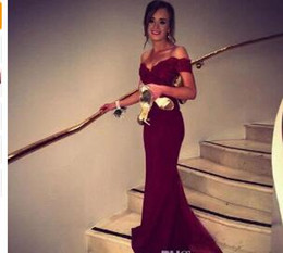 Red Embroidered Evening Dresses Australia - 2017 New Fashion Satin ushers Dark Red Mermaid Prom Dress Cap Sleeve Boat Neck Lace Backless Evening Dresses Bridesmaid Dress