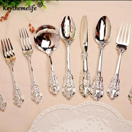 Forks Knives Spoons Australia - High Quality Retro Silver Spoon Knife Fork Colander Western Style Dinner Suit Spoons Forks Stainless Steel Tableware 3C