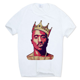 Wholesale tupac shirts for sale - Group buy Men S Print Tupac pac T Shirt Short Sleeve O Neck White Tshirt Hip Hop Swag Harajuku Streetwear T Shirt