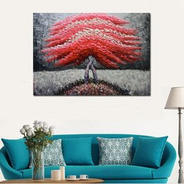 Decorative Hand Paintings Australia - Modern Home Decoration Hand Painted Abstract Palette Knife Tree Scenery Oil Painting Handmade decorative wall pictures painting