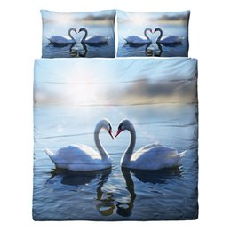 China Free shipping beautiful wedding gift swan couple lake pattern bedding set duvet Quilt Cover with 2 pillowcase Twin full Queen King size suppliers