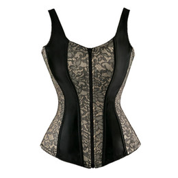 Zipped vest online shopping - Lace Up Overbust Corset Vest With Straps Cheap Flower Print Zip Brocade Gothic Halter Corsets Bustiers Tops Women Sexy Red Purple