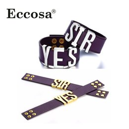 Wholesale quinn cosplay online – ideas Suicide Squad Yes Sir Letter Bracelets Purple Quinn Leather Prop Wristband Bracelet For Halloween Cosplay Accessories