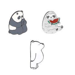 Alloy jAcket online shopping - Cartoon Panda Ice Bear Sloth Animal Enamel Pin Brooch Badge Denim Jackets Shirt Collar Lapel Pin Badge Clothes Jewelry