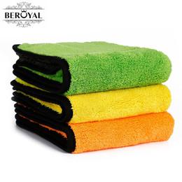 Pink Car Set UK - Beroyal Brand 2018 Kitchen Towel -3PC Set Super Thick Plush Microfiber Car Cleaning Cloths Absorbent Dish Cloth Polishing Towels
