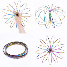 $enCountryForm.capitalKeyWord Australia - 3D Flow Rings Kinetic Spring Bracelet Sensory Interactive Novel Toys for Kids Adults Spinning Metal Galactic Globe Vortex Slides Down Arms