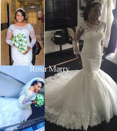 $enCountryForm.capitalKeyWord Australia - Sparkly Vintage Lace Mermaid African Wedding Dresses 2020 Trumpet Long Sleeves Nigeria Plus Size Arabic Country Beach Cheap Bridal Gowns
