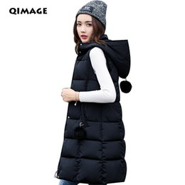 China 2017 Winter Long Vests For Women Korea Slim Down Cotton Hooded Vest Jacket LadyThick Waistcoat Vest Outwear Women's Clothing suppliers