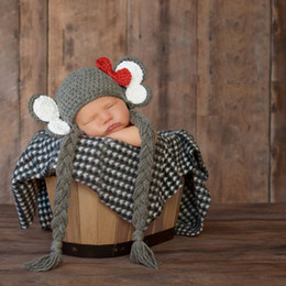 baby photo props hats Australia - Cute Baby Elephant Hat and Shoes Set Knitted Newborn Beanie for Photo Shoot Boy Fotografia Props Animal Costume Accessories